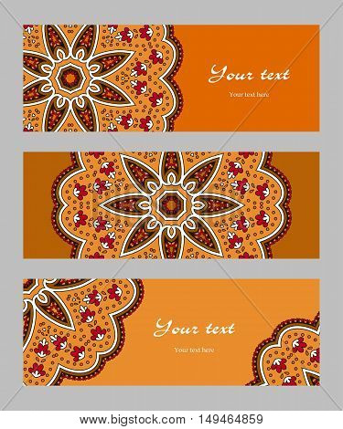 Set of horizontal banners with decorative narrow circular ethnic elements, orange red brown beige black, vector illustration