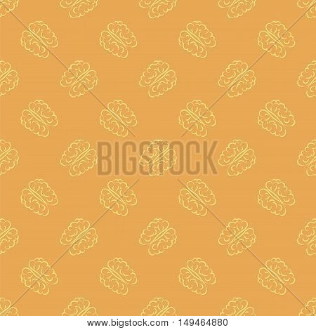 Human Brain Icon Seamless Pattern on Orange Background