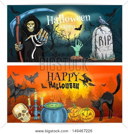 Happy Halloween decoration banners. Halloween pumpkin, full moon sky over grave. Vector sketch death reaper in robe with scythe, witch on flying magic broom, black cat and potion cauldron. Halloween celebration poster design
