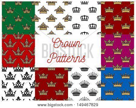 Crowns seamless patterns. Vector pattern of golden, royal, heraldic, imperial, vintage, retro monarch regal crown symbols