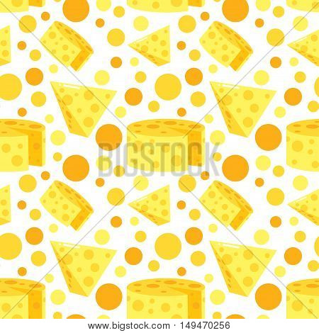 Seamless Pattern With Cheese. Vector Dairy Illustrations. Farm Fresh Products Cartoon Style Design. Flat Argiculture Collection.