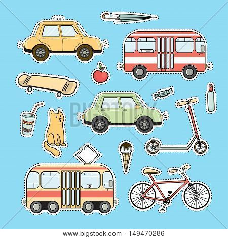 Set of colorful city life patches, vector sticker set. Tram and bus, bicycle ans kick scooter, skate, car, taxi, red cat, apple, ice cream, coctail, umbrella as set of patches