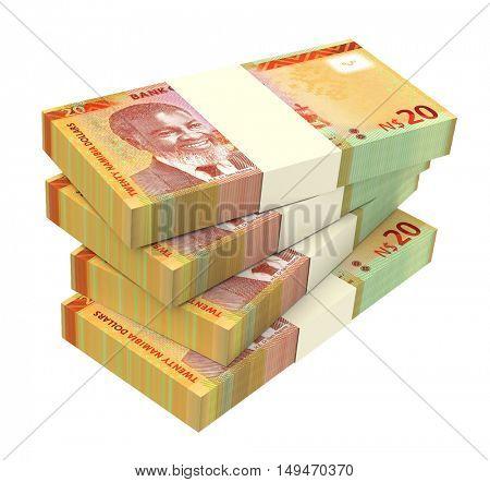 Namibian dollars bills isolated on white background. 3D illustration.