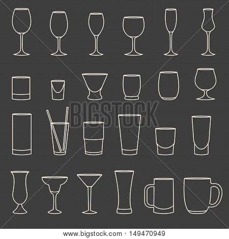 Set Of Linear Drinkware On Grey Background
