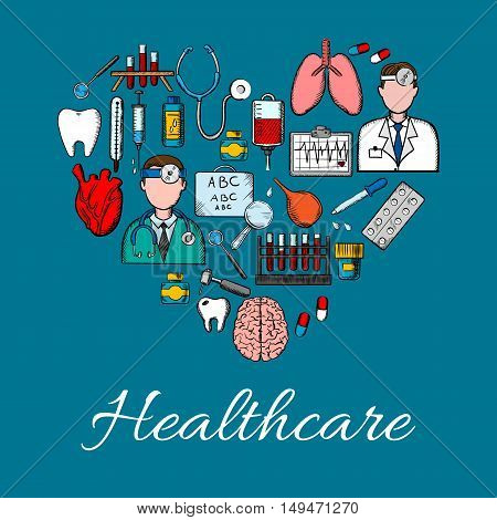 Medical placard background in heart shape. Vector symbols and icons of health care equipment and therapy. Doctor, lungs, tooth, heart, brain, dropper, thermometer, syringe, pills stethoscope