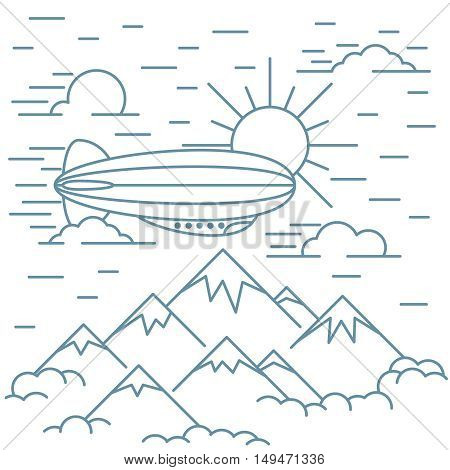 Airship tourism banner in line style. Airship travel flight transportation.