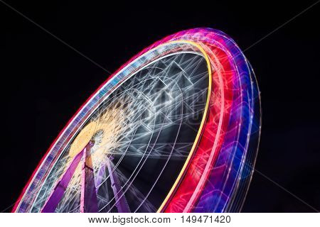 Ferris Wheel Spinning Long Exposure Neons Structure Black Night Rollercoaster