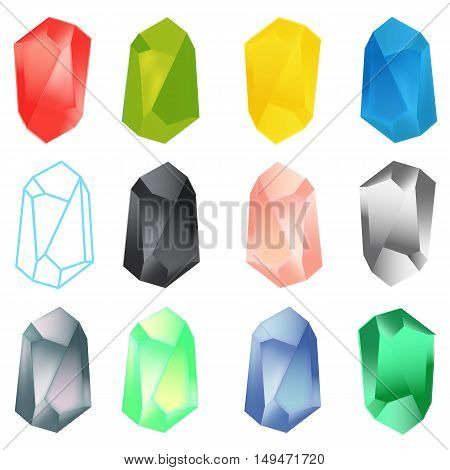 Set of colorful gemstones or mineral crystals isolated on white background. Vector Illustration.