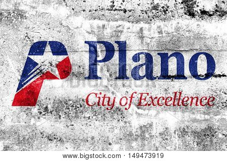 Flag Of Plano, Texas, Usa, Painted On Dirty Wall