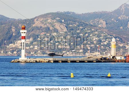 Lighthouses in Cannes. Cannes Provence-Alpes-Cote d'Azur France