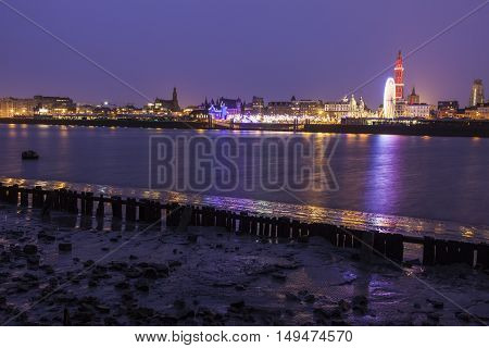 Panorama of Antwerp across Scheldt River. Antwerp Flemish Region Belgium