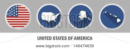 United States of America symbol. Set of US states maps.