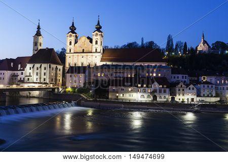 Steyr panorama with St. Michael's Church. Steyr Upper Austria Austria.