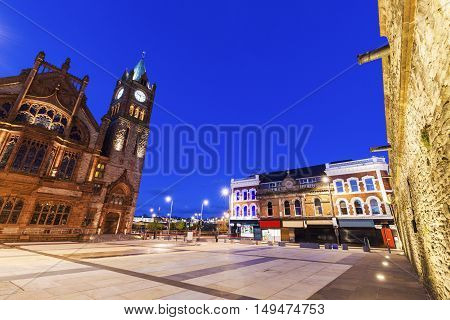 Guildhall in Derry seen at night. Derry Northern Ireland United Kingdom.