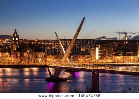 Peace Bridge in Derry. Derry Northern Ireland United Kingdom.
