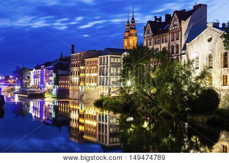 Old town of Opole across Oder River. Opole Opolskie Poland.