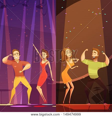 Two young couples dancing in colorful spotlights at disco club night party cartoon poster abstract vector illustration