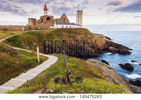 Saint-Mathieu Lighthouse at sunset. Plougonvelin Brittany France