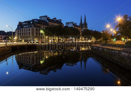 Quimper Cathedral at night. Quimper Brittany France