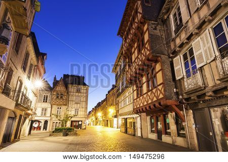 Streets of old town in Quimper. Quimper Brittany France