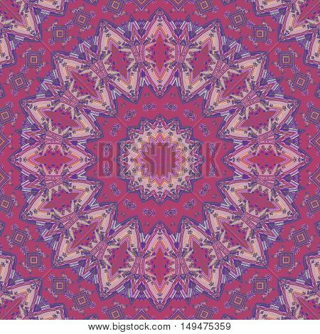 Abstract geometric seamless background. Regular concentric ornament with ellipses and diamond pattern in pink, violet and purple shades, ornate and dreamy.