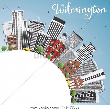 Wilmington Skyline with Gray Buildings, Blue Sky and Copy Space. Vector Illustration. Business Travel and Tourism Concept with Modern Architecture. Image for Presentation Banner Placard and Web Site.