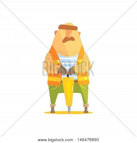 Builder With Jackhammer On Construction Site. Graphic Design Cool Geometric Style Isolated Character On White Background