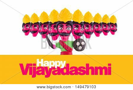 10 headed ravana or ravan made using colourful clay or dough
