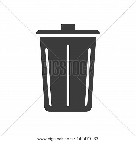 Trashcan Icon. Trashcan Vector Isolated On White Background. Flat Vector Illustration In Black. Eps