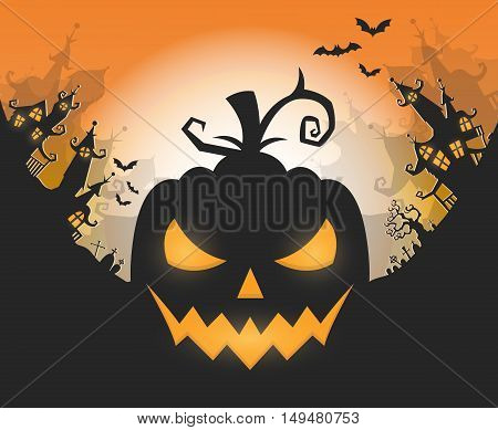 Vector Halloween night background with pumpkins scary face and creepy city. Perfect for greeting card flyer banner poster templates and invitations.