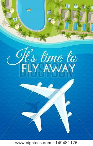 Tourism theme poster. White airplane flying over the sea to the tropical resort, top view. Design template for brochures, advertising banners, flyers and so. Vector illustration, eps10.