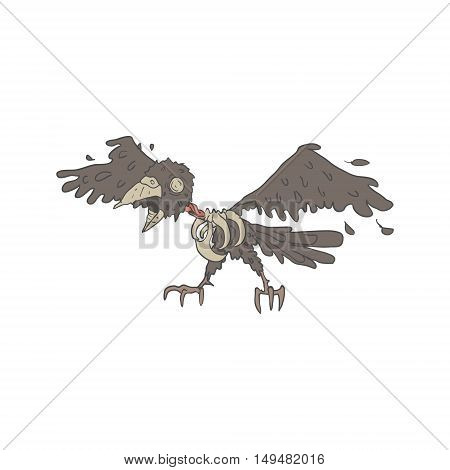 Crow Creepy Zombie With Rotting Flesh Outlined Hand Drawn Adult Style Illustration Isolated On White Background