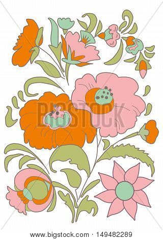 Ethnic flowers bouquet Floral folk art Folkart Flower pattern Vintage background Vector illustration Ethnic decoration flowers folk ethnic theme Card exotic Fabulous floral pattern
