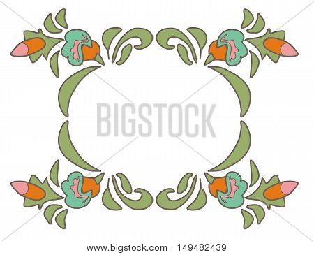Vintage floral frame Ethnic flowers Floral folk art Folkart Flower pattern Vector illustration Ethnic decoration flowers folk ethnic theme Card exotic Fabulous floral pattern