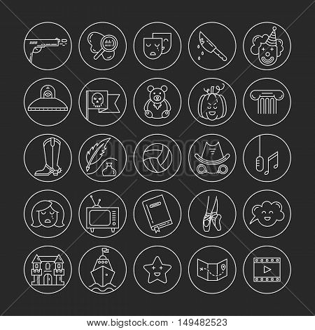 Vector set of movie genres line icons isolated on dark background. Different film genre elements perfect for infographic or mobile app