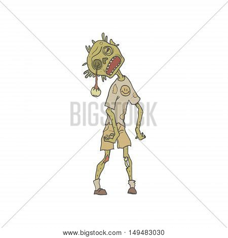 Child Creepy Zombie With Rotting Flesh Outlined Hand Drawn Adult Style Illustration Isolated On White Background