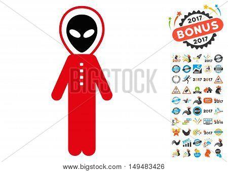 Alien Skafandr icon with 2017 year bonus vector pictograms. Design style is flat symbols, white background.