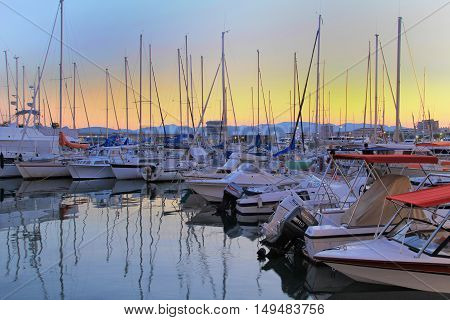 Saint-raphael, France, 26 Aug .2016: Boats Moored At Sunset In The Harbour At The Provencal Port Of