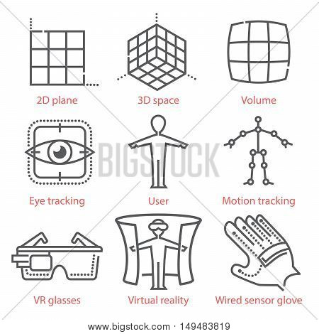 Vector Thin Line Icons Set With Augmented And Virtual Reality Symbols, Equipment And Tools. For Info