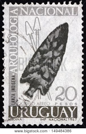 URUGUAY - CIRCA 1967: a stamp printed in Uruguay shows Spearhead Archeological Find circa 1967