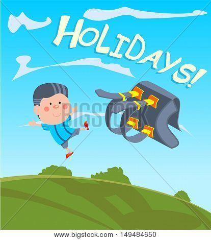 Vector illustration of a boy throwing a backpack