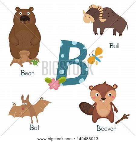 Cute vector zoo alphabet. Funny cartoon animals: bear badger bat bull.