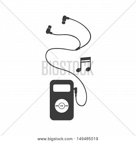 Mp3 player icon. Mp3 player Vector isolated on white background. Flat vector illustration in black. EPS 10