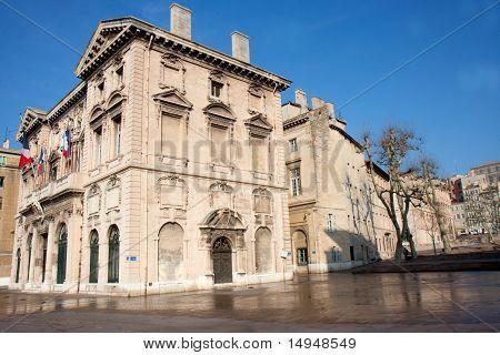 The Hotel de Ville de Marseille, its blind facade.