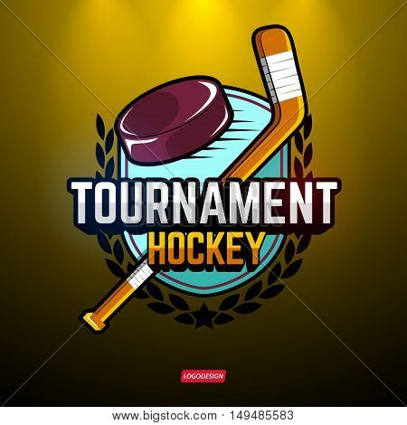 The logos on the theme of sport. Posters, stickers, emblems, logos for hockey. Different frames, objects sports design. Vector hockey emblems.
