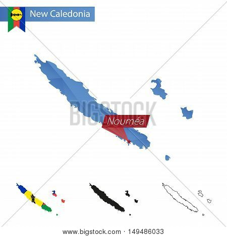 New Caledonia Blue Low Poly Map With Capital Noumea.