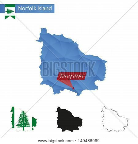 Norfolk Island Blue Low Poly Map With Capital Kingston.