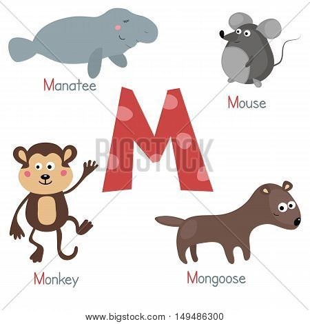 Cute vector zoo alphabet. Funny cartoon animals: manatee mouse mongoose monkey.