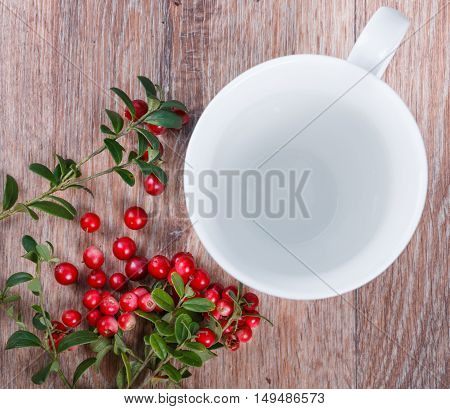 red lingonberries and empty cup on wooden background