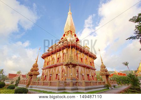 East view of biggest pagoda of Chalong Temple Phuket Thailand